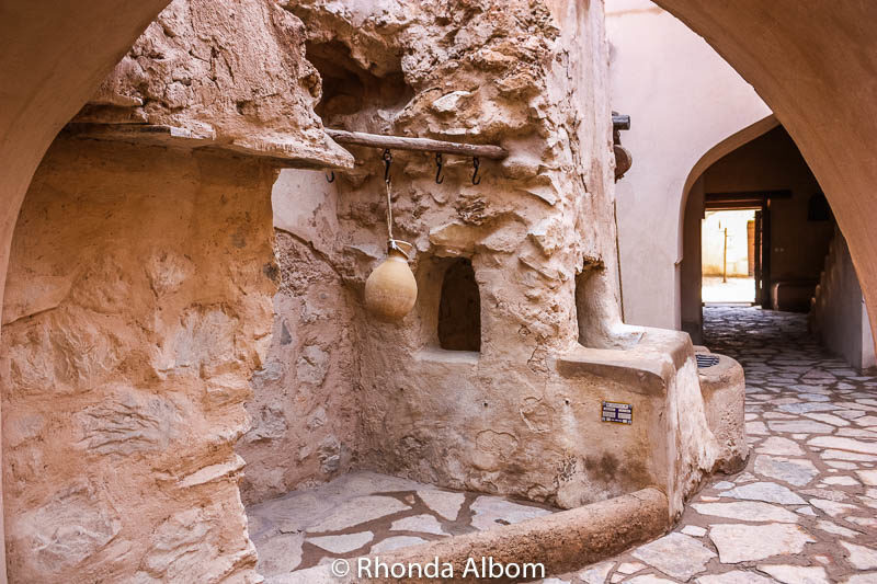 A traditional water jug hanging in the Nizwa castle in Oman