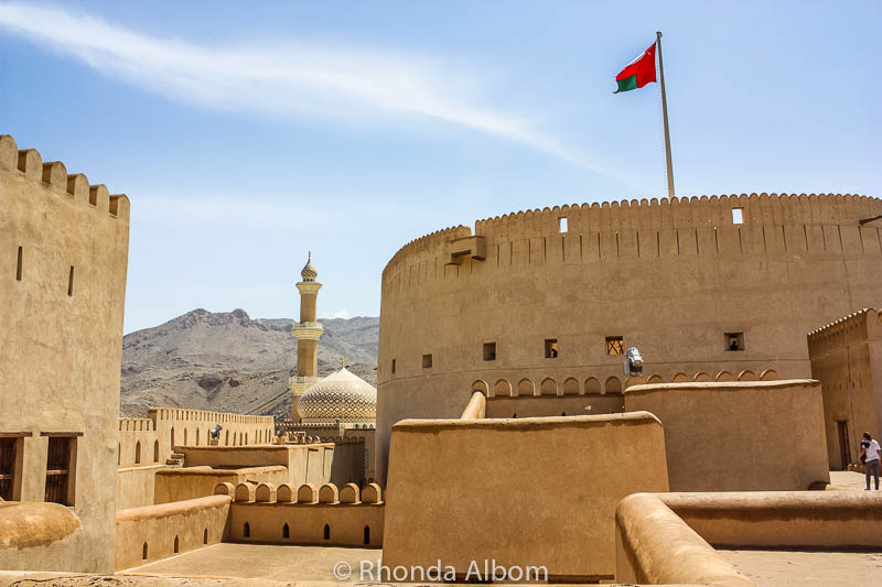 The largest round tower in Arabia is at the Nizwa Castle and Fort in Oman