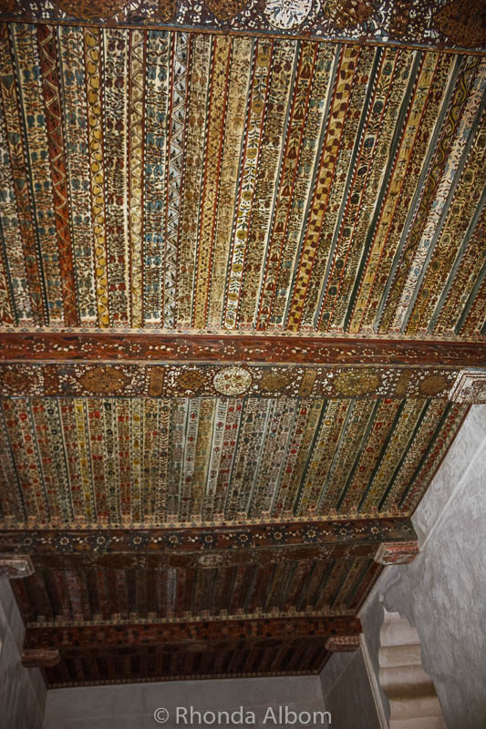 Intricate ceiling in a room of Jabrin Castle in Oman