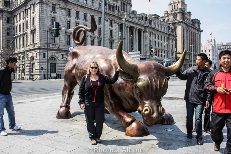 Bull on the Bund in Shanghai, China