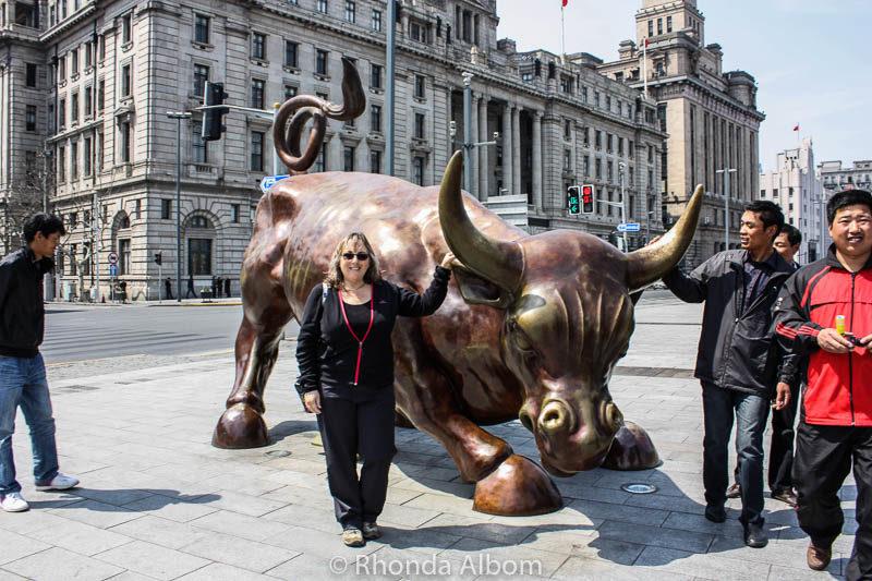 Bull on the Bund in Shanghai, China