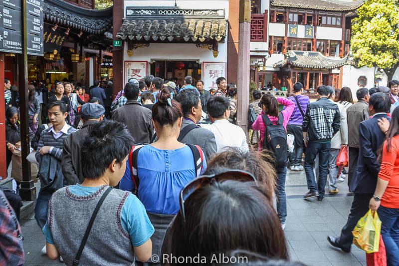 Queueing for the best dumplings in Shanghai at Yu Yuan Garden and Bazaar in Shanghai, China