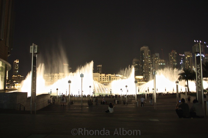 The worlds largest dancing (choreographed) fountain outside the Dubai mall