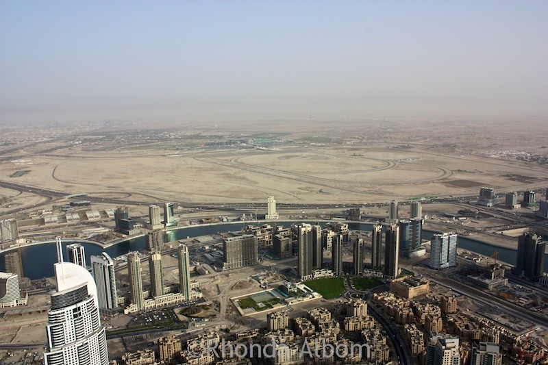 View from the top of the Burj Khalifa the worlds tallest building in Dubai UAE