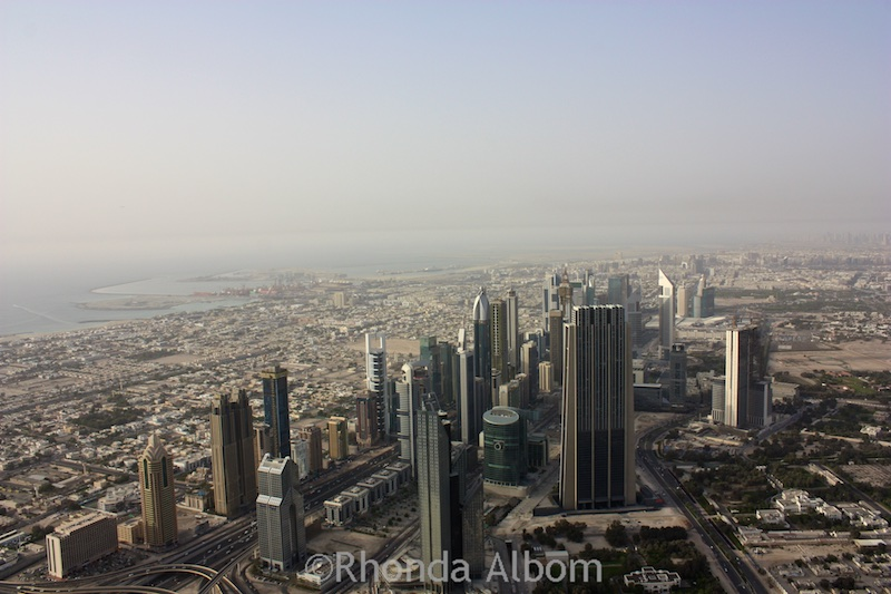 View from the top of the Burj Khalifa the worlds tallest building in Dubai