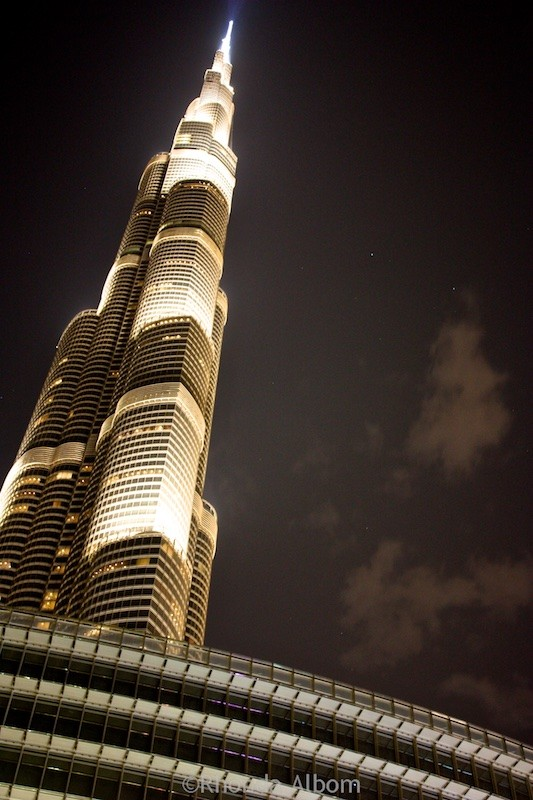 Burj Khalifa the worlds tallest building lit up at night