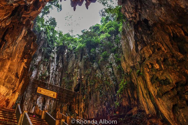 Inside one of the limestone caves at Batu Caves Kuala Lumpur, Malaysia
