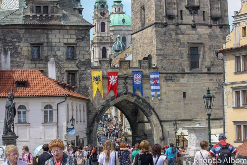 One end of the Charles Bridge in Prague Czech Republic