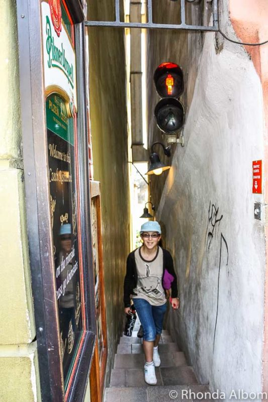 Narrowest pedestrian street in Prague, Czech Republic