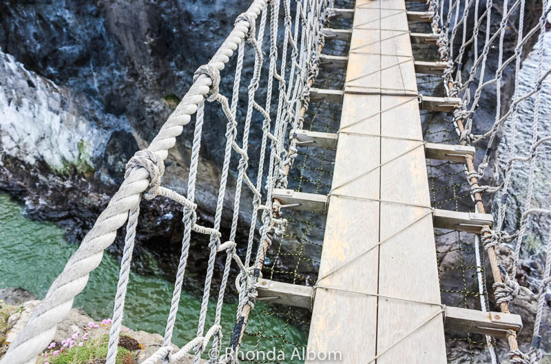 Looking down from the Carrick A Rede Rope Bridge in Northern Ireland