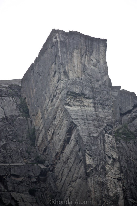 Prekestolen (the pulpit rock) rises 600m (1968 ft) straight up from the fjord down below near Stavanger Norway.