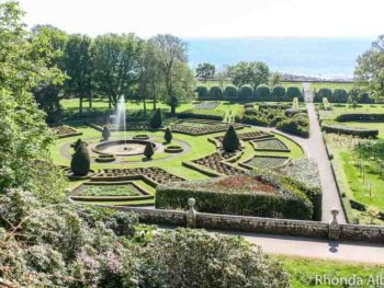 Gardens at Dunrobin Castle in Scottish Highlands