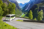 Hairpin turns on a bus tour from Flam to Voss in Norway