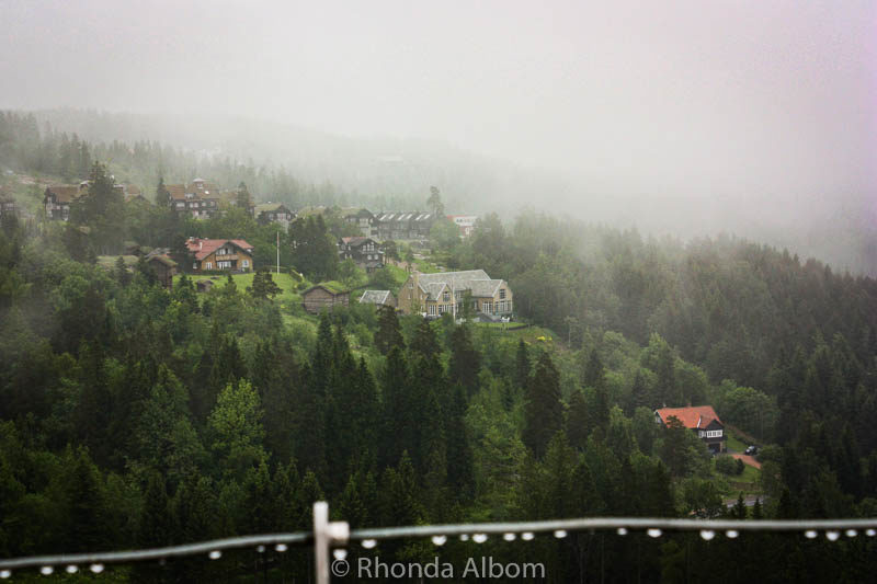 View in the fog Holmenkollen Ski Slope Museum. We had only one day in Oslo, Norway