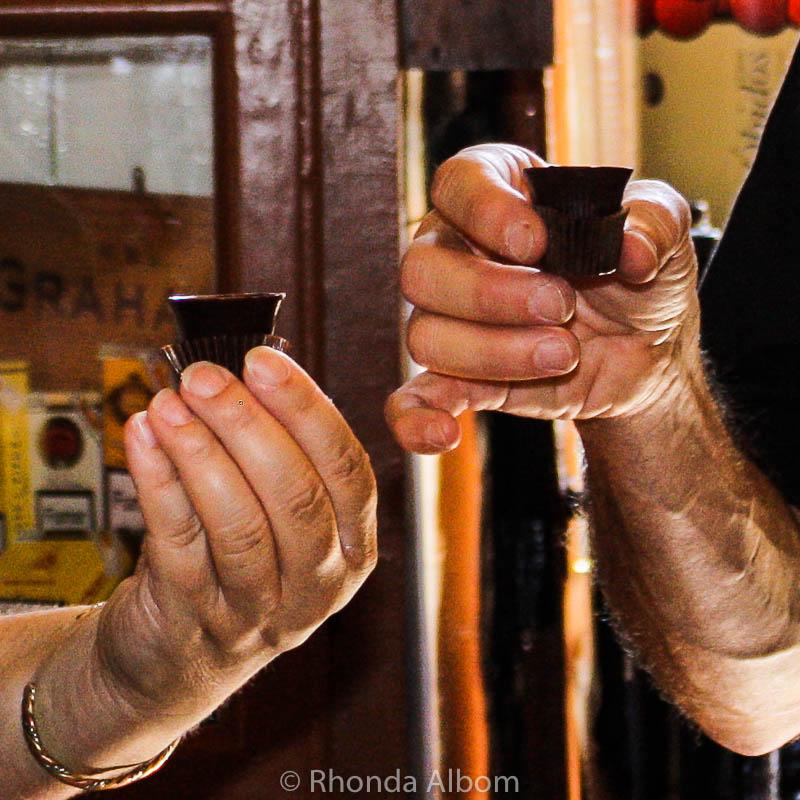 Ginji served in chocolate cups in Obidos, Portugal