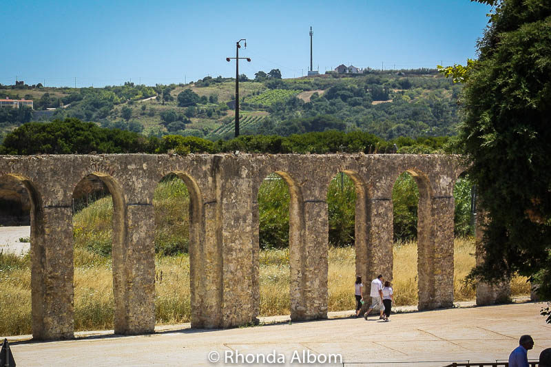 Roman aqueduct on the outskirts of Obidos, Portugal