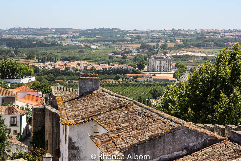 Looking outside the old city of Obidos from on top of the city wall in Portugal