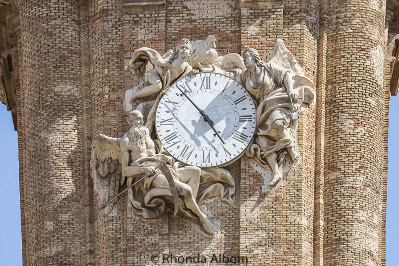 A closer look at the clock on La Seo's tower in Saragossa Spain
