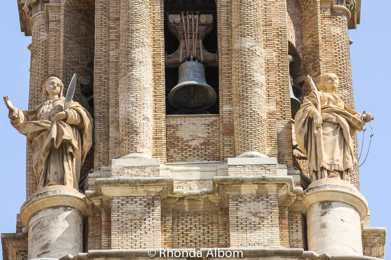 A closer look at the bells on La Seo's tower in Saragossa Spain