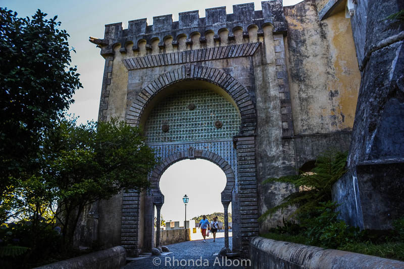 The gate to Pena Palace in Sintra Portugal