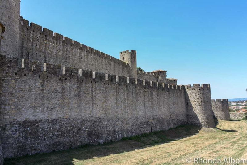 Exterior section of the Carcassonne old town wall in France