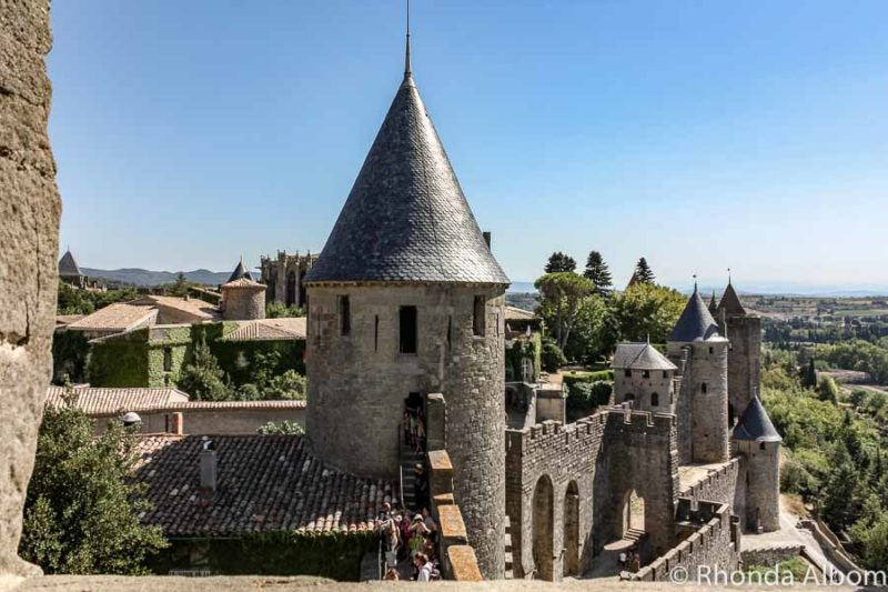 On the ramparts Carcassone Castle in France