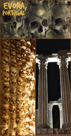 Visiting Evora, Portugal. This town is home to the famous Chapel of Bones, which is decorated with the skeletons of over 5000 people! More info can be found on this at the blog