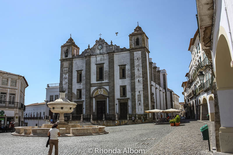 Giraldo Square and the Saint Anton's Church is the main square in Evora Portugal