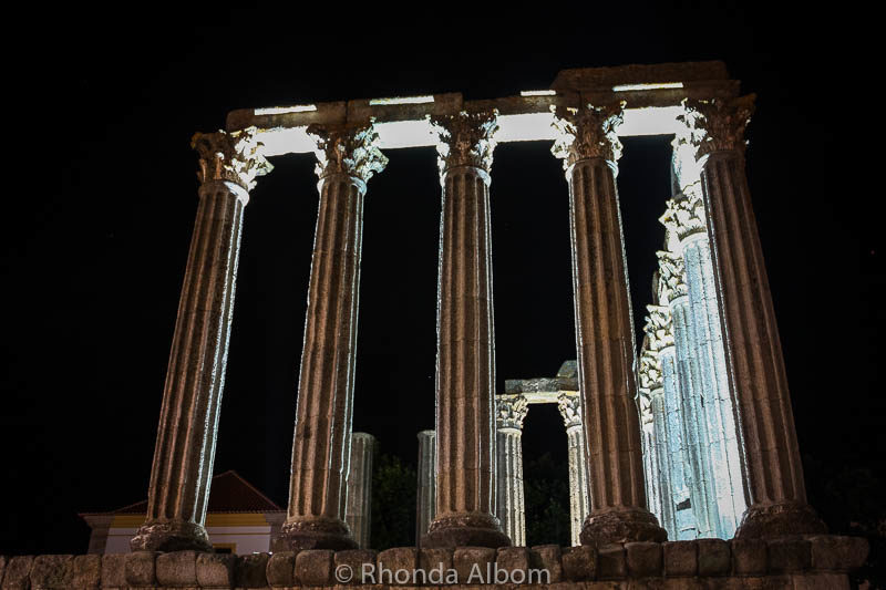 Roman Temple Diana at night in Evora, Portugal