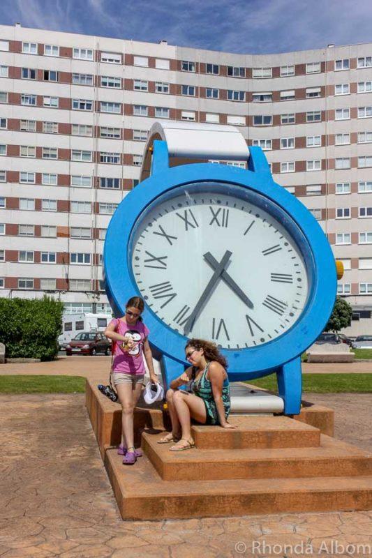 A giant watch sculpture in La Coruna Spain