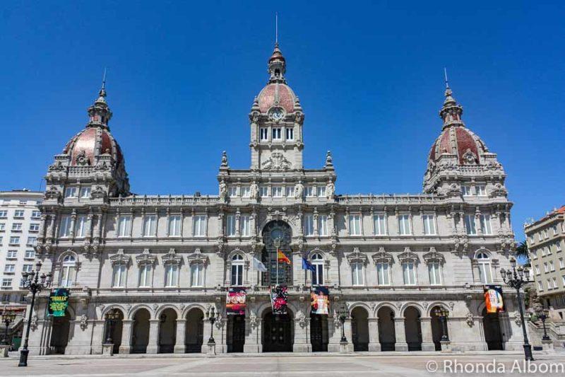 Town Hall in the Plaza Maria Pita in La Coruna, Spain