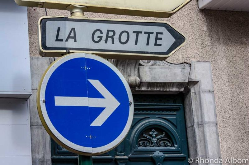 One-way street sign in Lourdes France