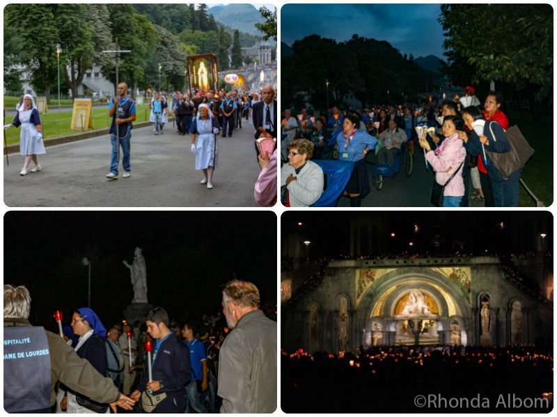 the nightly candle-lit procession in Lourdes France