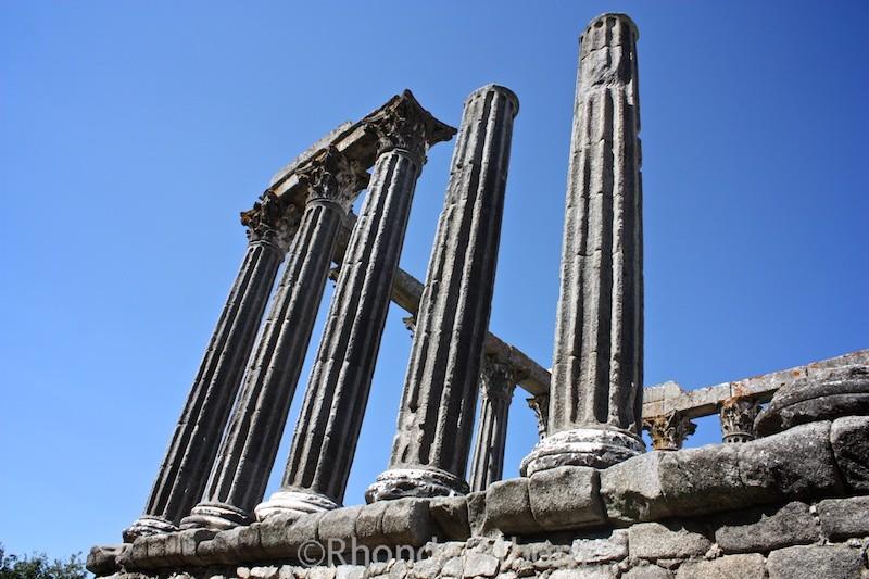 Ruins of a Roman Temple in Evora Portugal