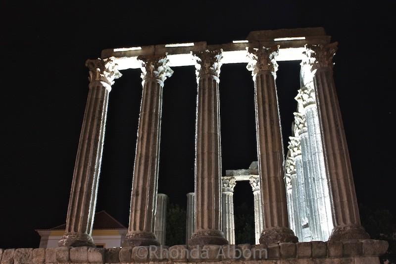 Roman Temple in Evora Portugal at night