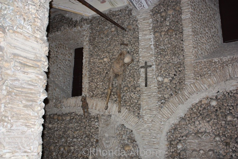 Inside the Chapel of Bones in Evora Portugal