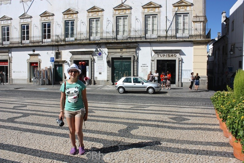 Town centre and tourism office in Evora Portugal