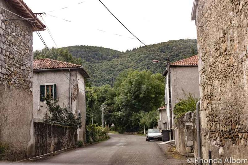 Stone buildings line the roads of Pouzac France