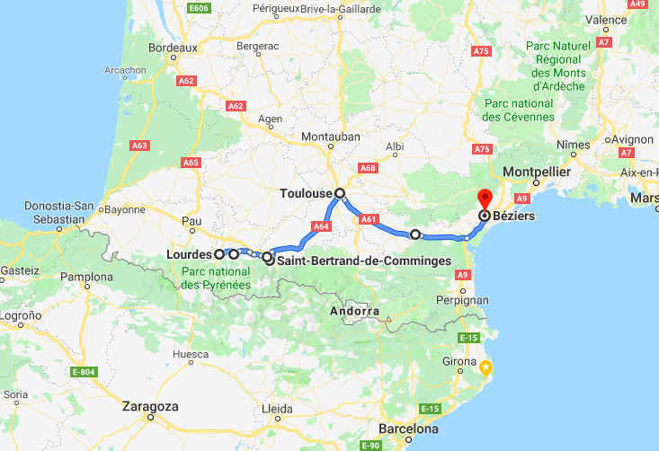 France road trip itinerary map