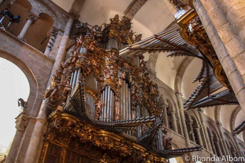 The organ inside the Cathedral de Santiago de Compostela, Spain