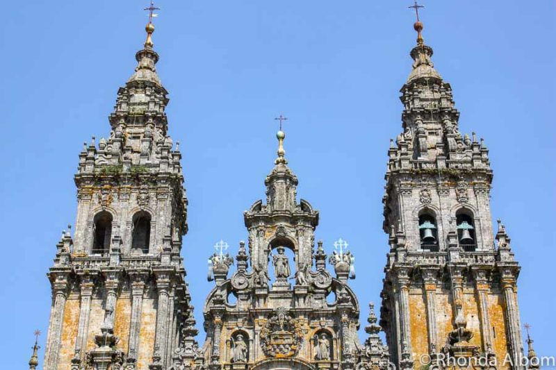 A closer look at the Cathedral de Santiago de Compostela in Spain