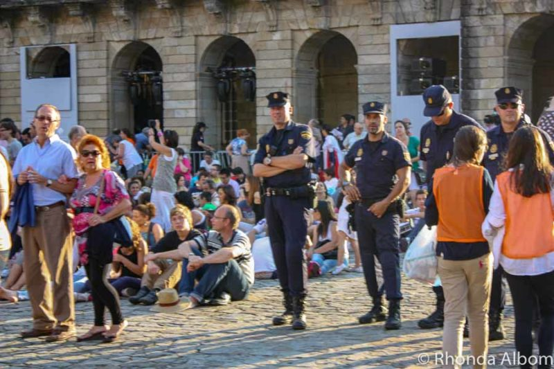 Police and crowds at St. James Day Festival in Santiago de Compostela, Spain