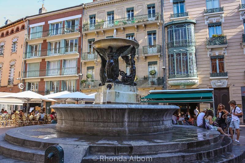 A fountain in Place de la Trinite in Toulouse France
