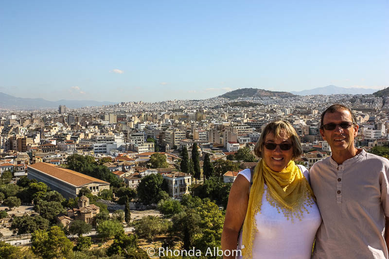 View from the Acropolis in Athens Greece