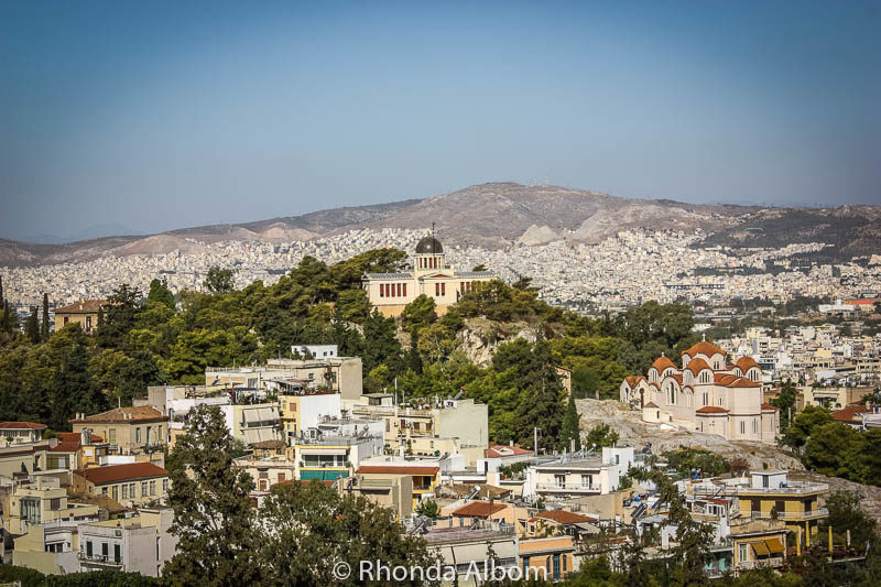 View from the Acropolis. Part of most city sightseeing Athens Greece