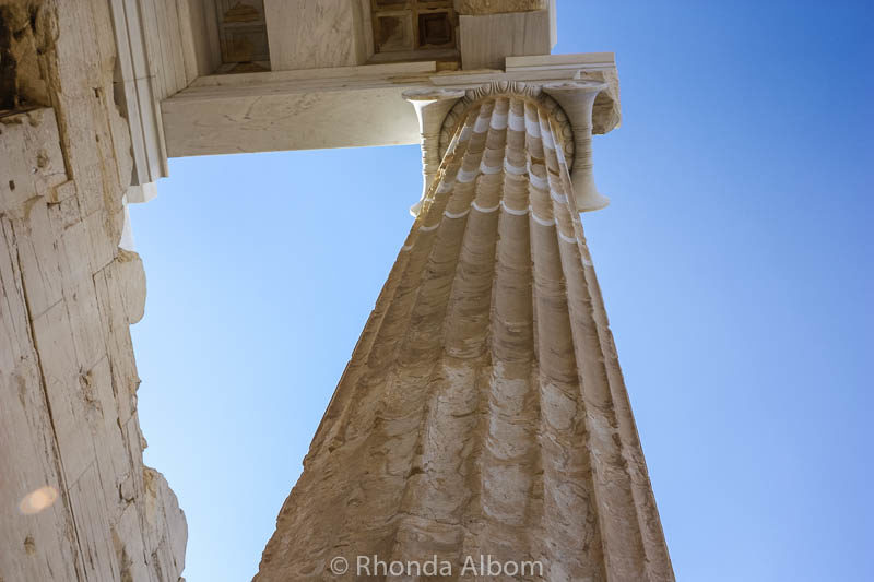 Column seen during Acropolis tour of one day in Athens