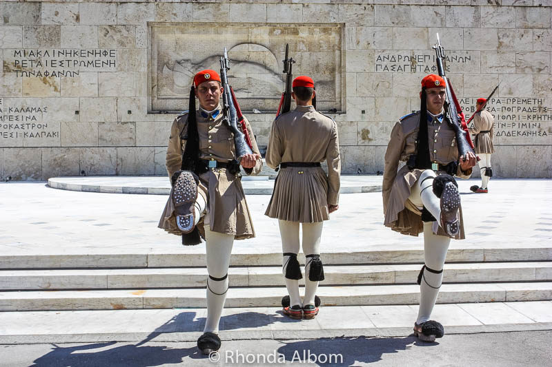 Greek parliament and changing of the guard at tomb of unknown solider.