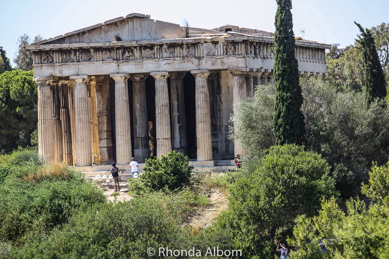 The Temple of Hephaestus viewed from the Agora - one of the places to see in Athens Greece
