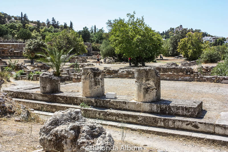 Agora, an ancient gathering place seen on our tour with only one day in Athens Greece