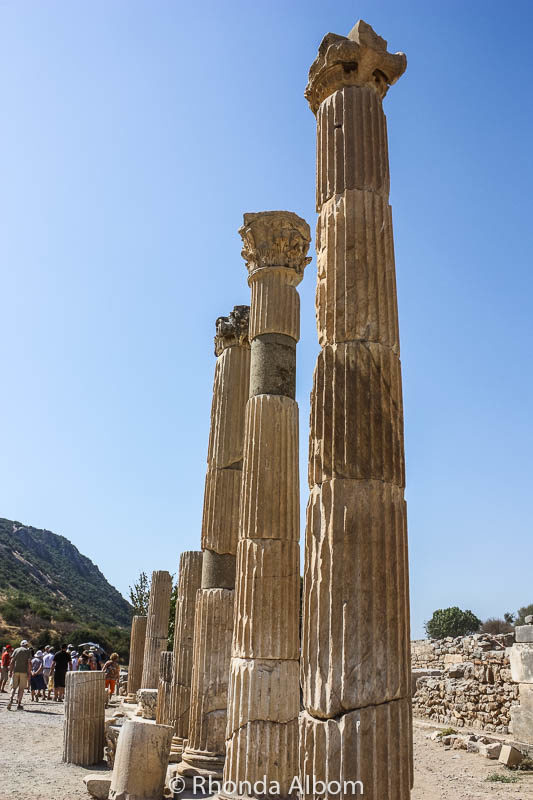 Columns in the ancient city of Ephesus in Turkey